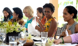 First lady Michelle Obama sits with APEC spouses during the APEC Spousal Luncheon at Kualoa Ranch in Ka'a'awa, Hawaii, Sunday, Nov. 13, 2011.  (AP Photo/Susan Walsh)